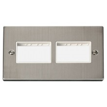 Click Stainless Steel Double Plate 6 Gang Aperture VPSS406WH
