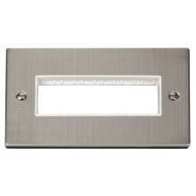 Click Stainless Steel Double Plate 6 Gang Aperture VPSS426WH