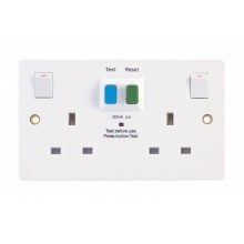 Selectric LGA White 13A Socket 2 Gang Switched RCD Protected SPL-RCD2GS